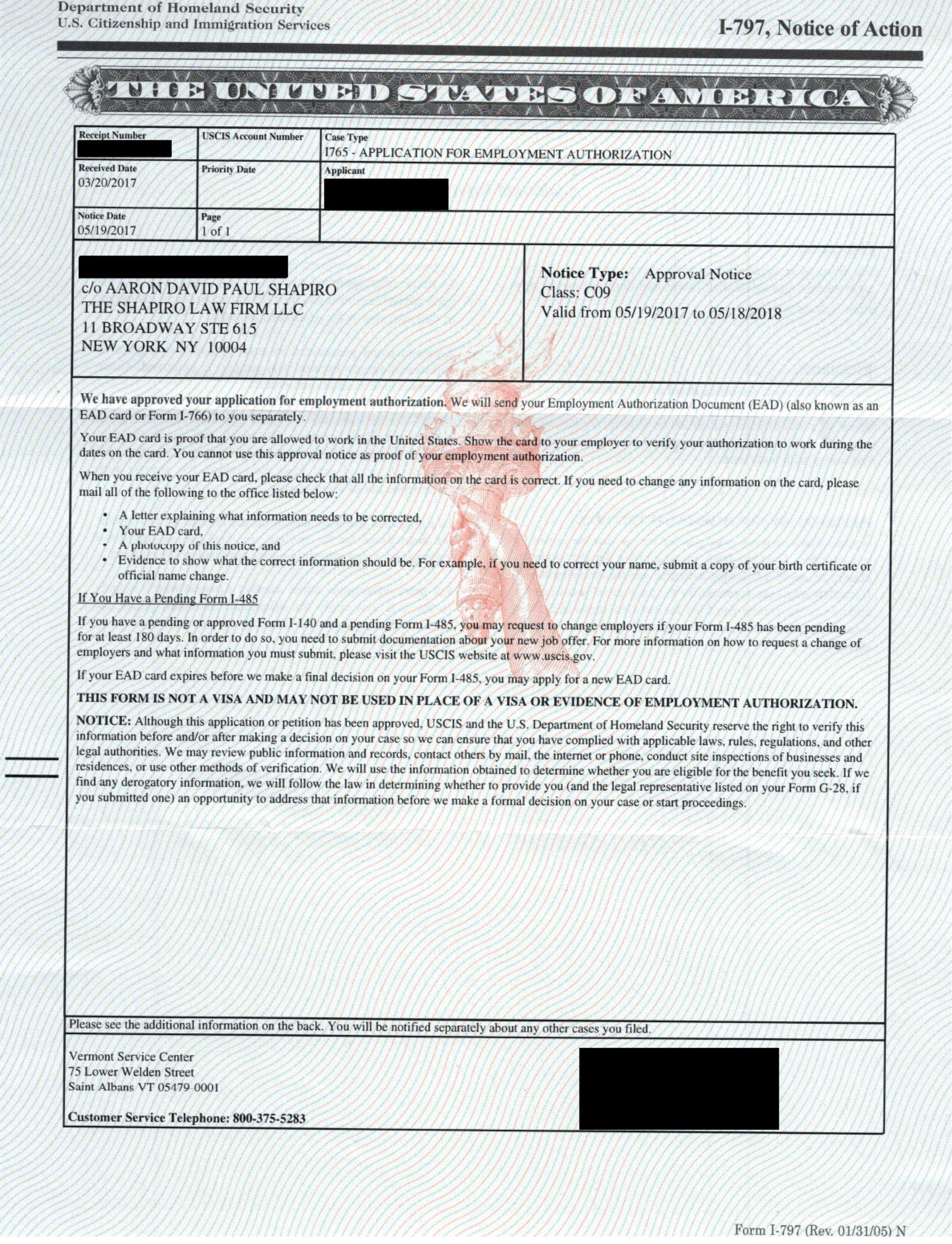 I-797, I-765 Approval Notice