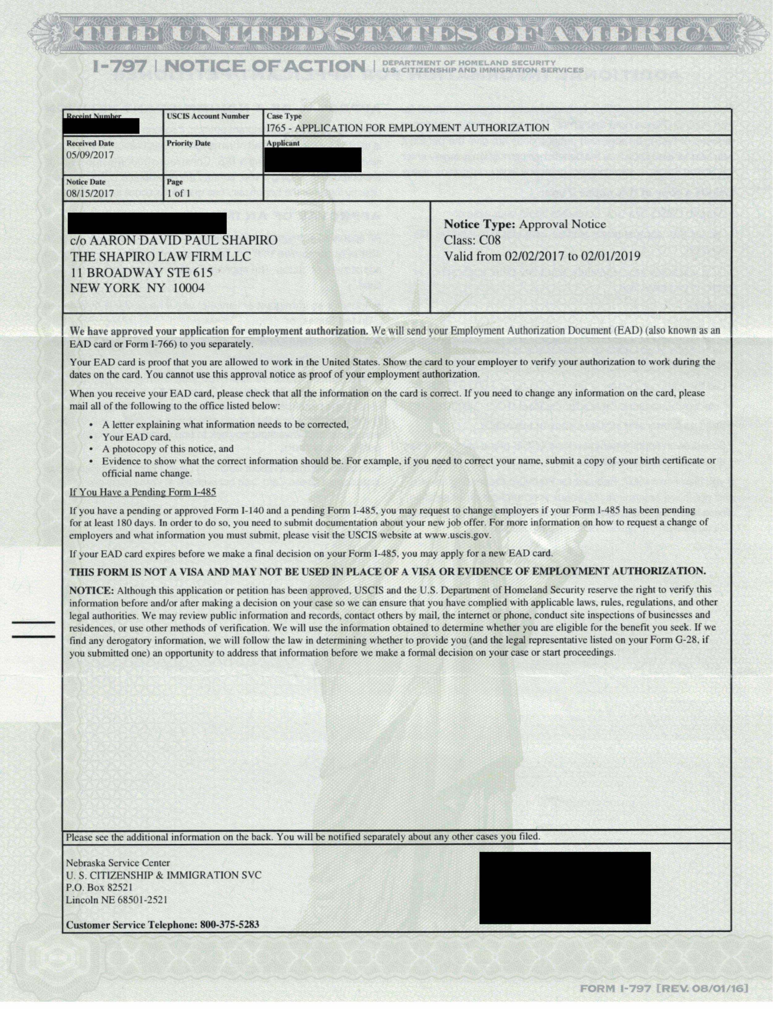 Form I-797C, I-765 Approval Notice