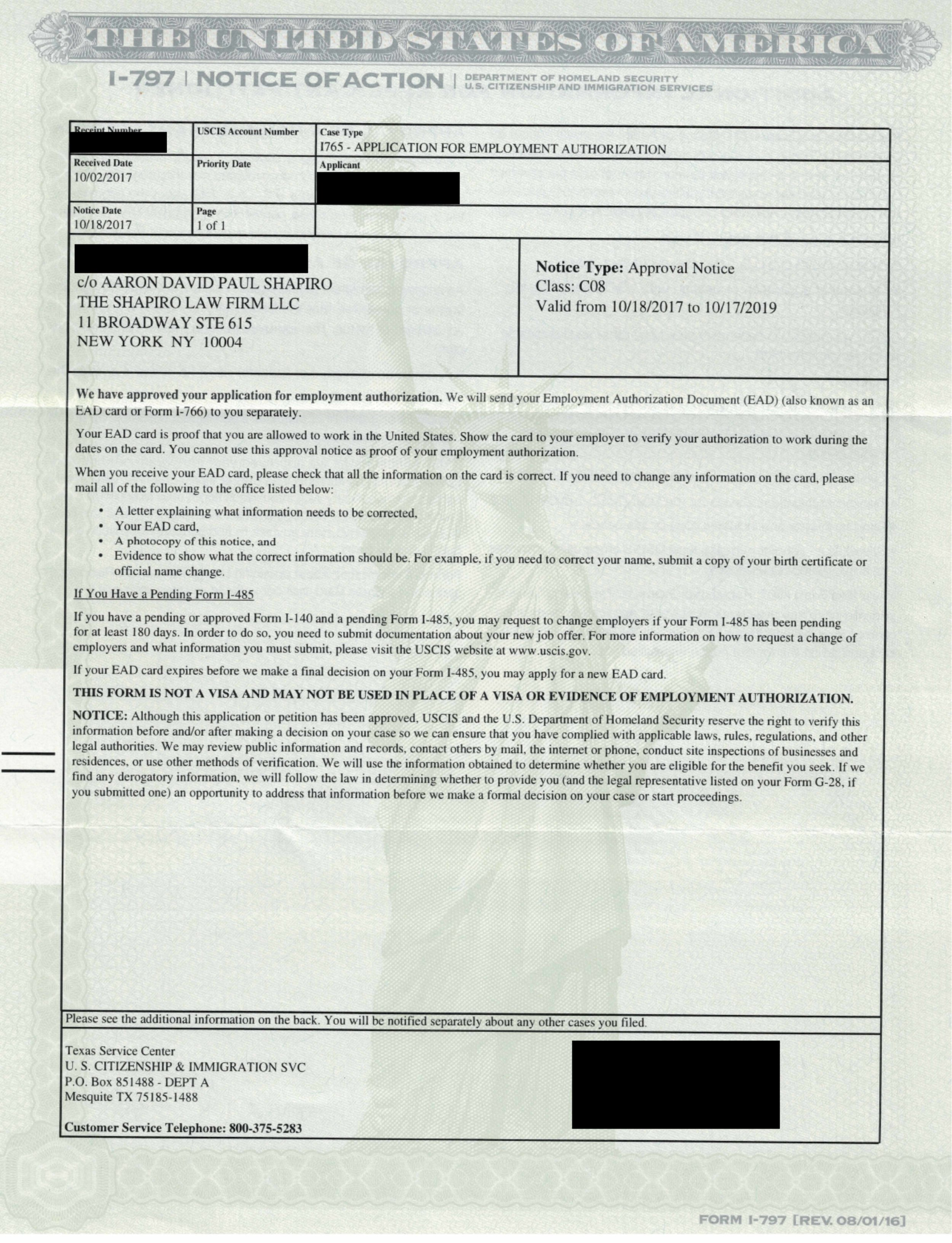 I-797, I-765- Applicant for Employment Authorization, Approval Notice