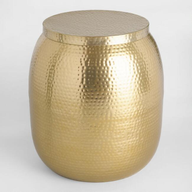 Gold Hammered Metal Drum Accent Table