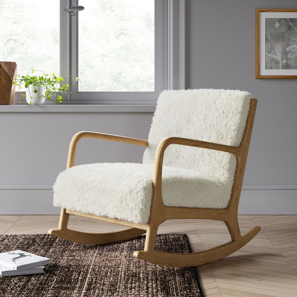 Esters Wood Arm Chair - Sherpa White