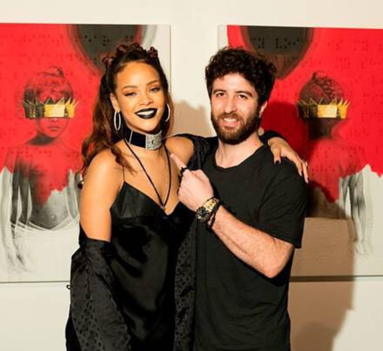 Roy Nachum and Rihanna at the Anti release party