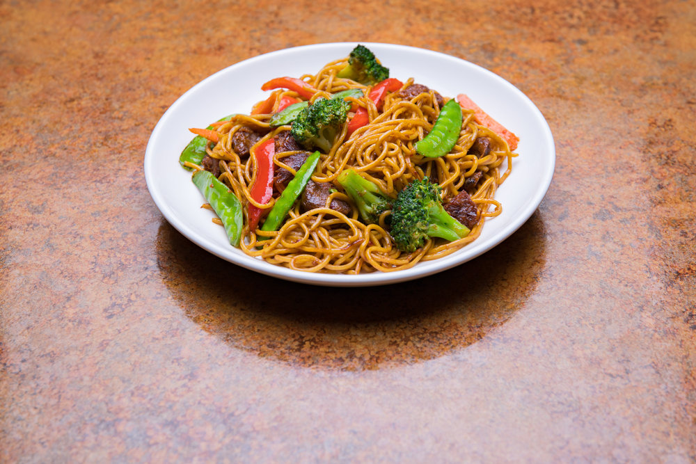 Spicy Beef Satay Stir Fried Noodles from Loma House, a vegetarian restaurant in south Edmonton