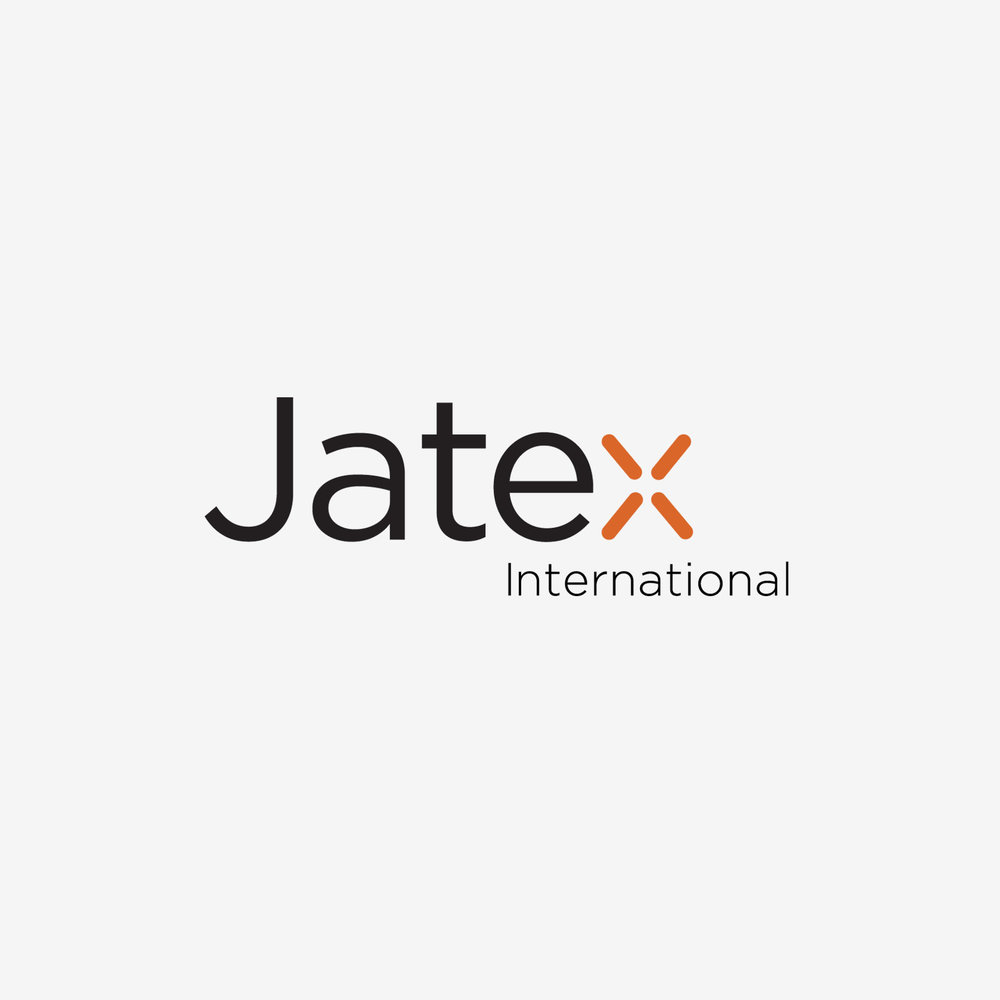 Jatex Int'l - Logo for a company selling unique decor items to the retail trade, using a copper color accent on the last letter to reinforce a main product line of copper items for the home. (outtake, logo not chosen)