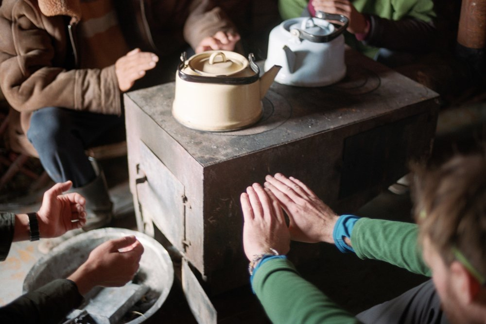 During the day we make stops at some family yurts if they are around. The nomads welcome us, they give us food and warm tea before we get going again.