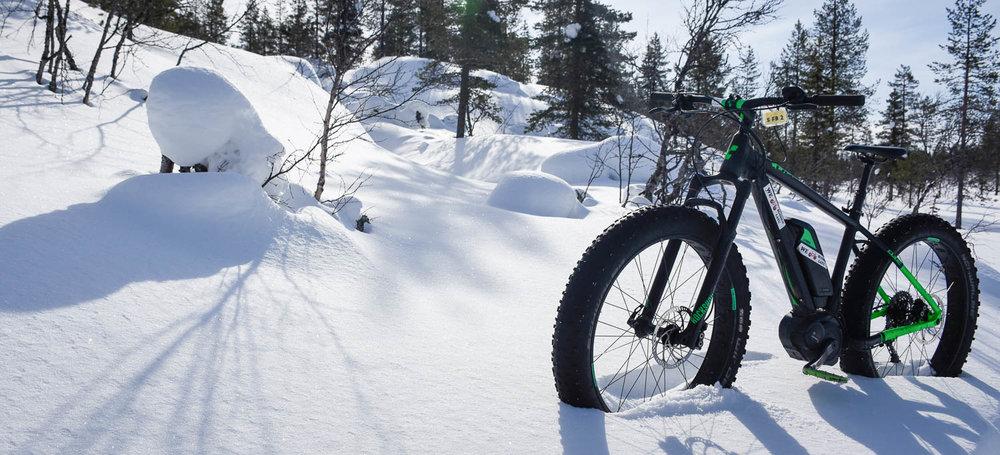 Läskipyörä lumihangessa, luonnollisessa elementissään.