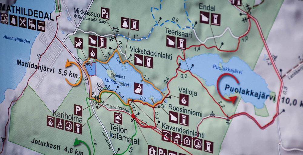 Matildanjärven ympärysalueen kartta.