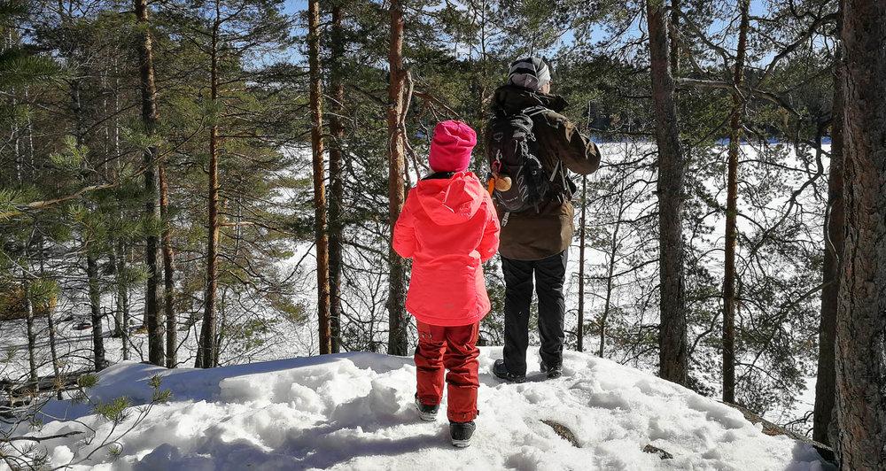 Näköalapaikka lumiselle Ritajärvelle.