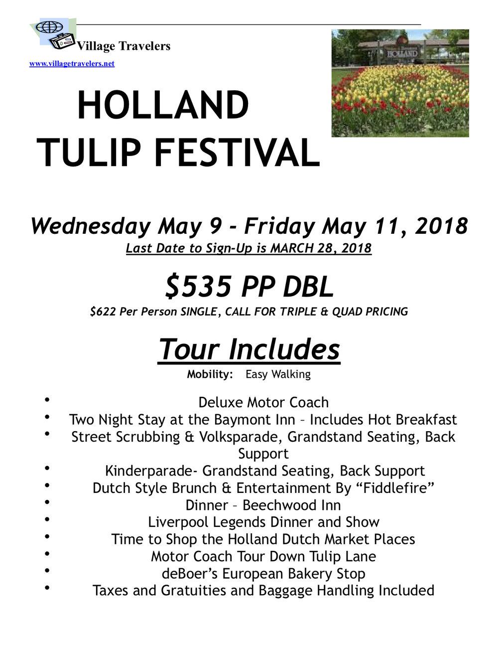 Holland tulip tours 2018