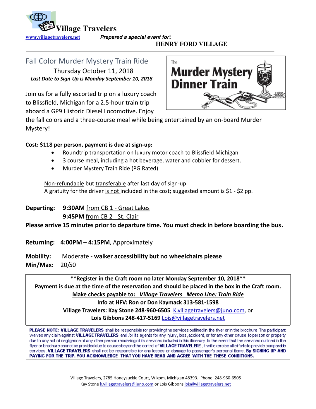 Fall Color Murder Mystery Train Ride — Village Travelers