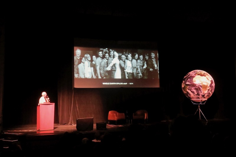 Stewart Brand gives a short talk about the Whole Earth catalog at the public evening event at the Cowell Theatre. Photo by    Fabrice Florin   .