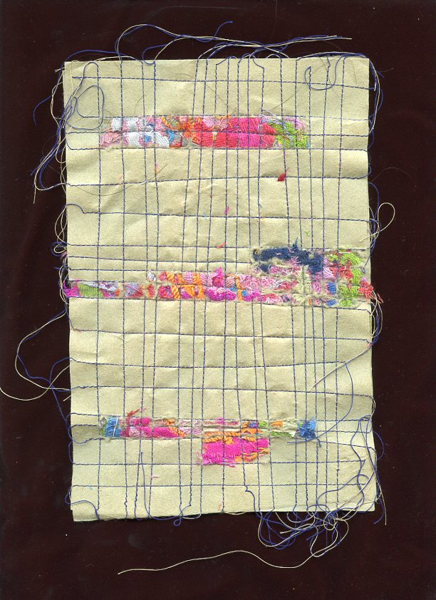 """MENDING, #2, WOOLD AND SILK CLOTH REMNANTS WITH THREAD ON HANDMADE PAPER, 9"""" X 6""""/23CM X 15.25CM, 2014"""