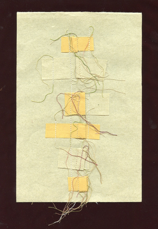 """HOW A FRENCH HEM IS MADE, THREAD AND HANDMADE PAPER, 9"""" X 6""""/23CM X 15.25CM, 2015"""