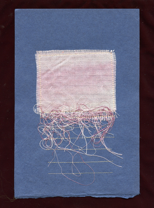 "SCHMATA, #3,  WOOL CLOTH REMNANT AND THREAD ON HANDMADE PAPER, 9"" X 6""/23CM X 15.25CM, 2015"