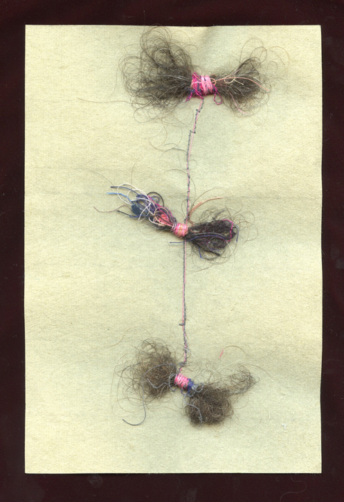 "TUFTS,  HAIR AND THREAD ON HANDMADE PAPER, 9"" X 6""/23CM X 15.25CM, 2015"