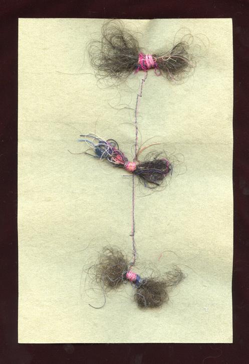 "TUFTS, HAIR AND THREAD ON HANDMADE PAPER, 9"" X 6""/23CM X 15.25CM, 2015"