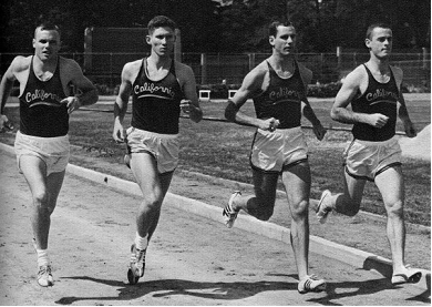 Cal's 1964 National Championship Mile Relay team: Forrest Beaty, Al Courchesne, Dave Fishback and Dave Archibald.  No wonder their time was so good . . . running together sure beats running one after the other!