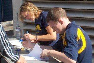 Amy Bair checks in student-athletes