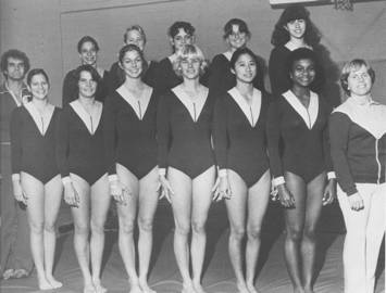 Women's Gymnastics    Front Row  (left to right): Ass't Coach Homer Sardina, Marilyn Heiman, Cheri McLoud, Dori Suggs, Laurel Brennan, Rena Wong, Renee Baldwin, Head Coach Dale Flansaas;  2nd Row : Marcia Weinberg, Karen Kelsall, Laura Warner, Nikki Hannes, Jennifer Hone