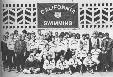 Men's Swimming    Sitting  (left to right): Pelle Holmertz, Bill Schmidt, Jim Johnson, Mike Kelly, Paolo Revelli;  Kneeling : Ryan Ledwith, Dave Santos, Paul Sims, Craig Haigh, Daryl Jorgenson (Diving Coach);  Standing : Dave Malin, Bart Cerer, Par Arvidsson, Mike Doyle, Karl Mohr (Ass't Coach), David MacNeill, David Mitchell, Kirk Anderson, Jeff Heimans, Ralph Jones, Dave Boatwright, Tom McMullen, Don Bull, Todd Trowbridge, Chip Nielsen, Gerry Gray, Tim Cespedes, Dave Wilson, Bruce Sperber, Steve Ellberg, Bill Jacob, Peter Szmidt, Rod Wade, Pat Roy, PA Magunusson, Tom John (Ass't Coach), Reed Jackson, Mike Grimm, Nort Thornton (Head Coach)