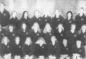 Women's Water Polo    Front Row  (left to right): Sabrina Nespeca, Erin Kelley, Heather Petri, Karie Gray, Alisa von Hartitzsch, Fana Fuqua, Kaliya Young;  Second Row : Lisa Berquist, Kari Johnson, Tiffany Duncan, Evi Schueller, Melanie von Hatitzsch, Alicia Razzari, Karen Cook, Brooke Spittler;  Back Row : Steve Doten (Ass't Coach), Kate Brown, Elisa Sue, Beth Sprinkle, Colette Glinkowski, Keri Hoover, Jen Chan, Maureen O'Toole (Head Coach)