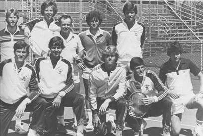 Top Row  l-r: Joe Vlasak, Doug Stone, Coach Bill Wright, Phil Lehnhoff, Mark Wooldridge;  Front Row : Randy Nixon, Mike Bauer, Miles Walker, Yair Wertheimer, John Sevely