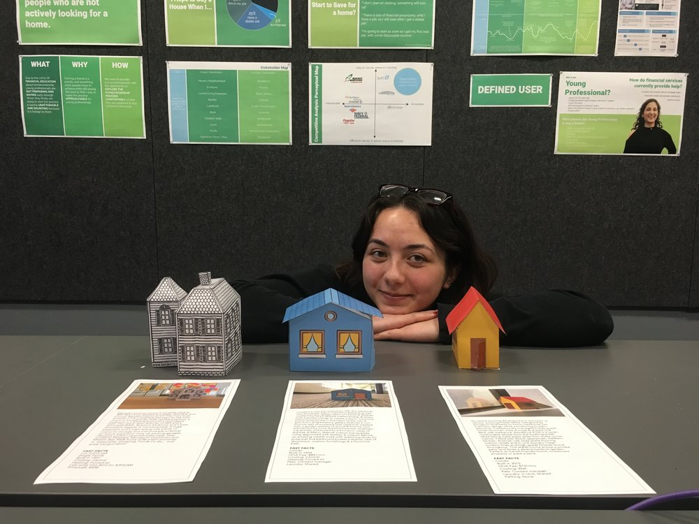 """I created physical houses as a part of user testing to examine emotions about the home """"mood board."""" It was also fun to bring our work into the physical instead of the digital!"""