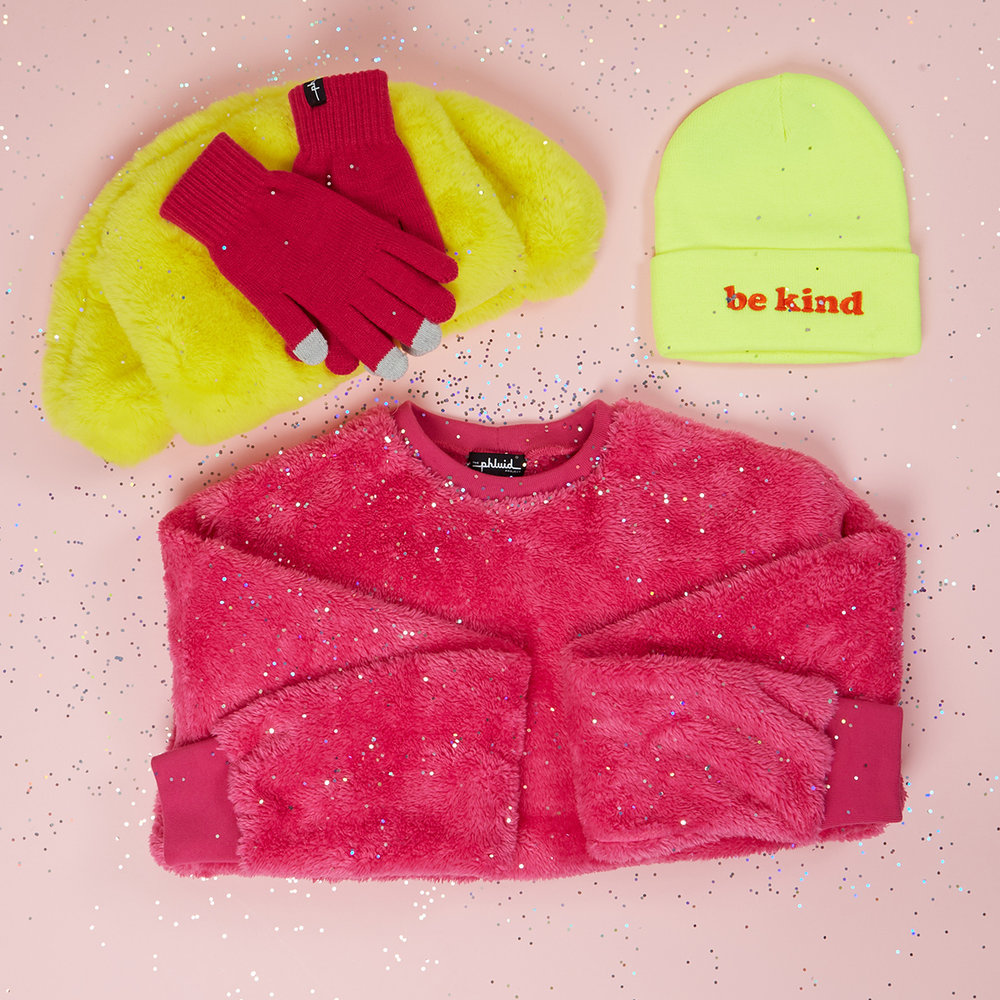 COLD WEATHER - Sherpa Crewneck - $85Be Kind Beanie - $20Ph Gloves - $12
