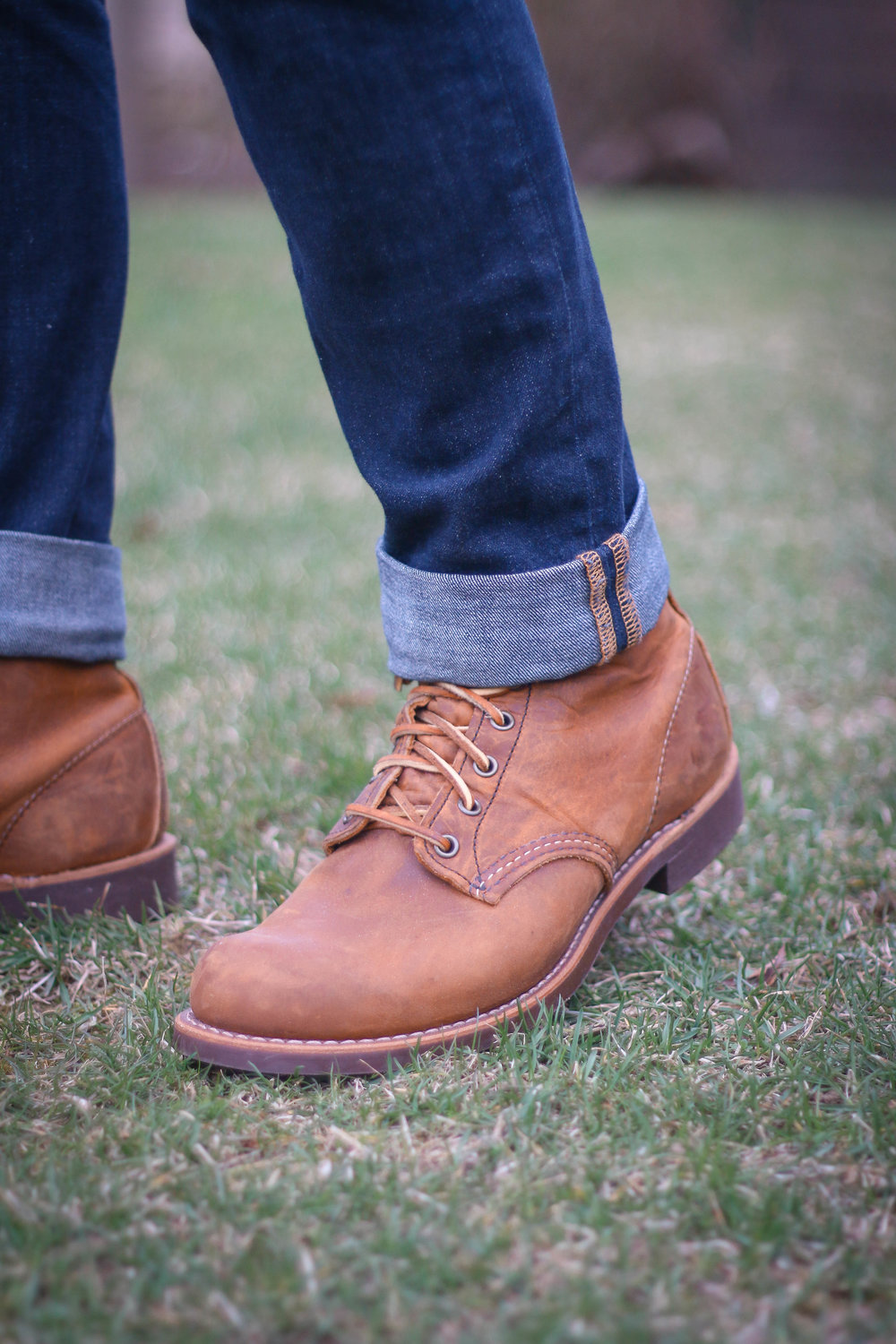 The Red Wing Blacksmiths in Copper Rough and Tough, with Blackrock Leather Laces