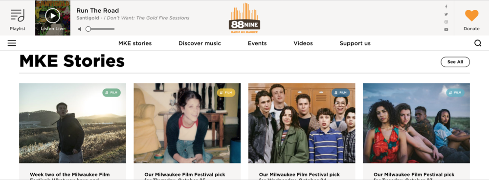 Radio Milwaukie's website uses a tile layout that has become synonymous with flat design. 2D image tiles become jumping-off points for different features, and all elements on the page lay flatly against one another without any dimension.