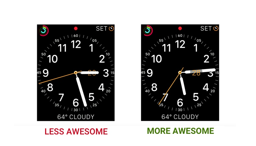 The digital watch interface on the left faithfully recreates a real watch, including the unfortunate case in which the watch hand blocks the date. The watch on the right eliminates this problem with digital magic.