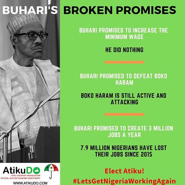 Buhari and the APC promised to create jobs, stabilize the Naira and make you Nigeria safer. They broke these promises. Elect Atiku - #LetsGetNigeriaWorkingAgain #AtikuDO