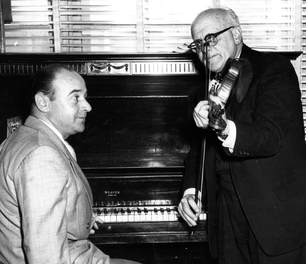 Joe Vandewart at the piano with Sol Cohen on violin