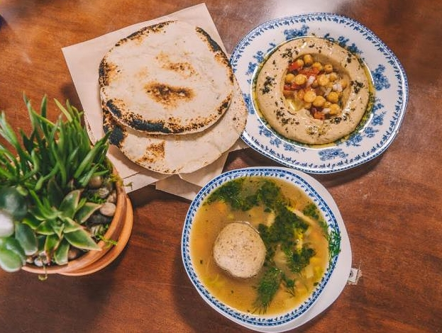 Pita, Hummus, and their Chicken and Matzah Ball Soup!