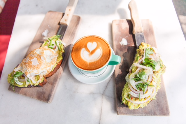 Avocado Toast and Almond Milk Latte at The Hart and The Hunter