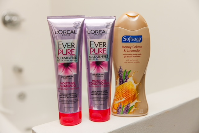 My favorite shower products!!!    Loreal Ever Pure Shampoo and Conditioner      Softsoap-Honey Creme and Lavender