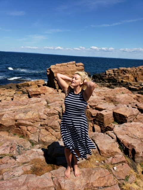 The rocky coastline of Hovs Hallar! Here I am rocking my favorite   Banana Republic   dress!
