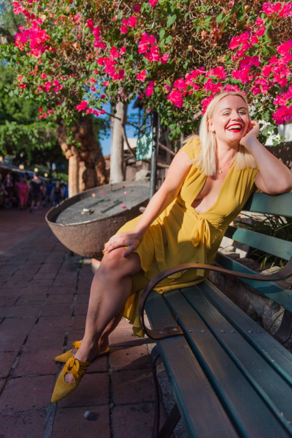 Sitting on a bench on beautiful Olvera Street! Rocking my favorite Zara shoes to match my Reformation dress!    Shoes: Zara: $49.90