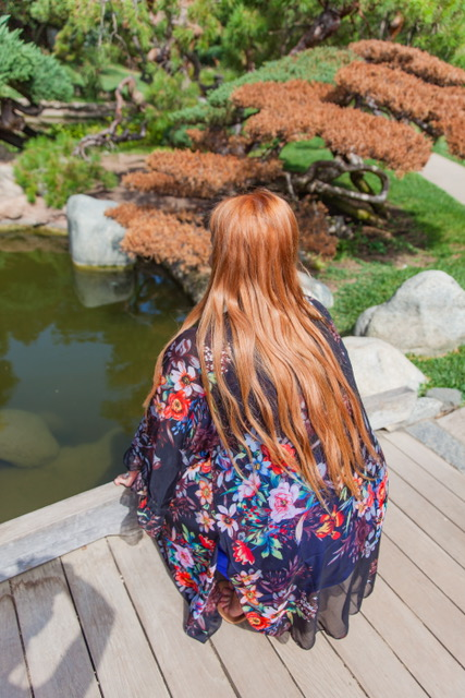 Looking at the beautiful koi in my cute kimono from The Lulla Collection! Perfect for the setting :)   Kimono: The Lulla Collection: $28