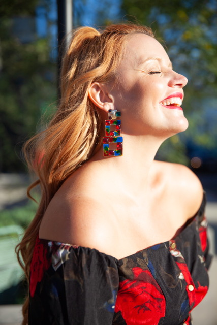 I'm shining all day long in my beautiful earrings from Zara!    MultiColored Squared Earrings :Zara: $19.90