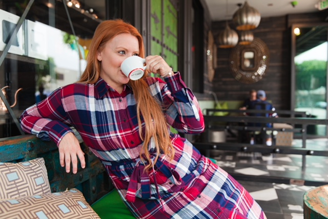 Casually sipping my tea in my Long Plaid Uniqlo Dress!    Dress: Uniqlo: Long Plaid Sleeved Dress: $39.90