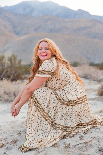 Desert Rose in bloom in my cute dress from Free People.    Dress: Rare Feelings Maxi Dress :$148