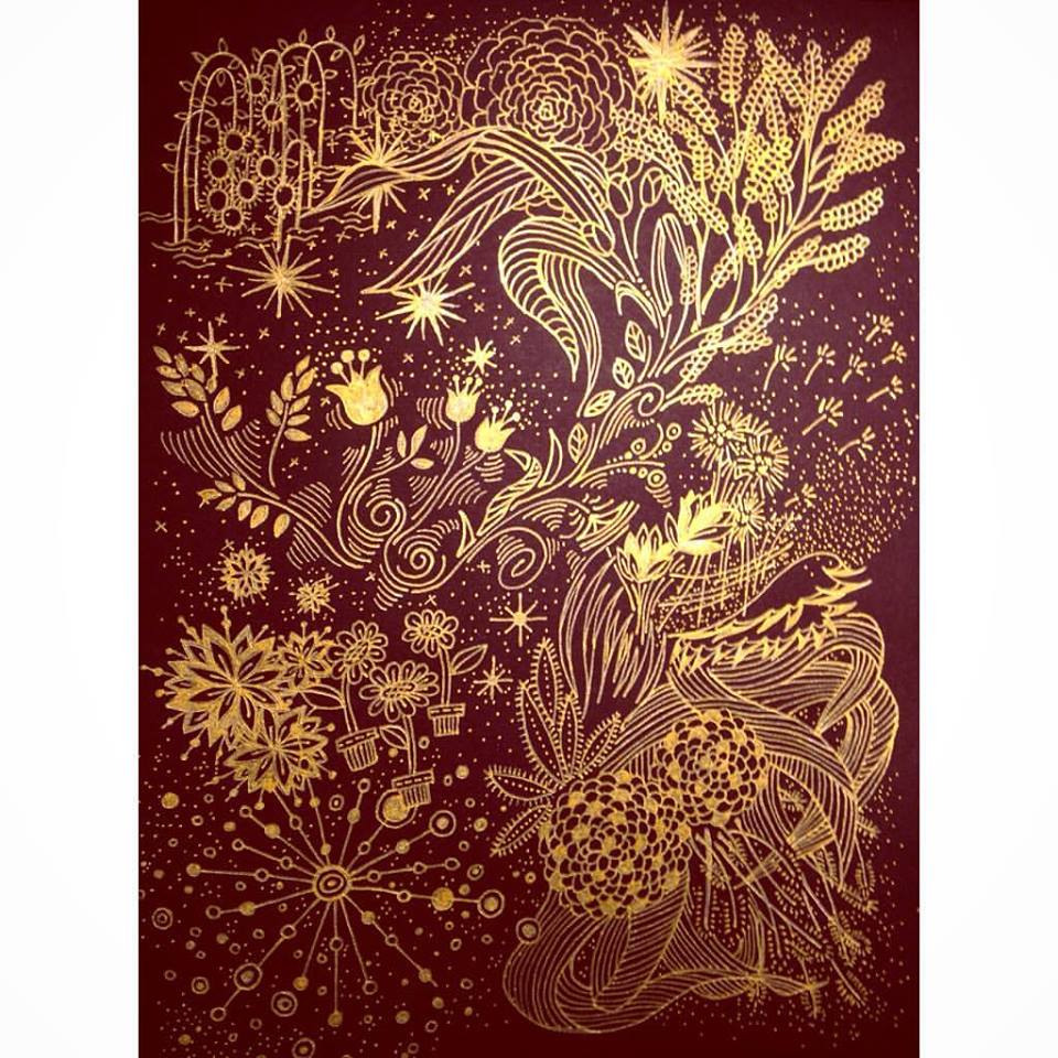"""Untitled """"A bunch of flowers"""" . Black paper, gold pen. July 2016."""