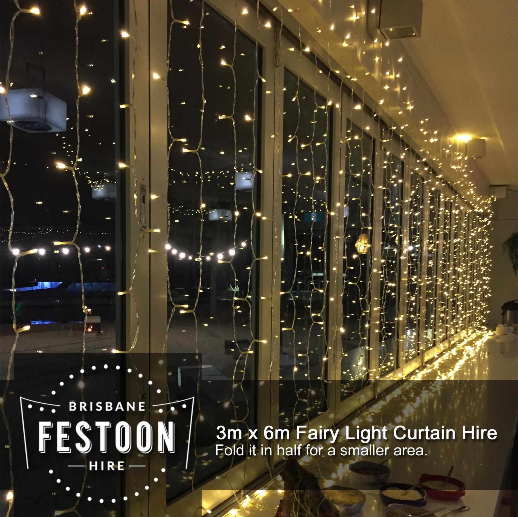 6m X 3m Fairy Light Curtain Hire Brisbane Festoon Hire