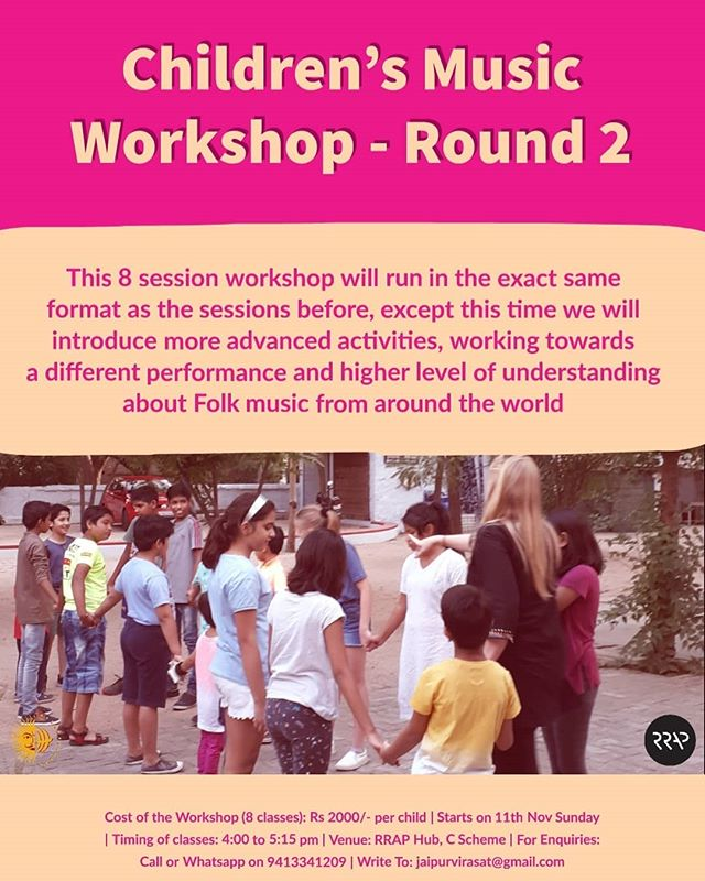 We are back with Children Music Workshop - Round 2 Starting from 11th Nov  To build on the success of the first Children's Music Workshop by Sally Jaquet (community music teacher) we are introducing Children's Music Workshop Round 2! DM us if you are interested!  #jaipurvirasatfoundation #jaipurkids #childrensmusic #jaipurworkshops #jaipurmusic #musicworkshop #pinkcity #thingstodoinjaipur #folkmusic #jaipurkids #workshopsinjaipur #jaipur #music #musiclass #jaipurpeople #musiclub