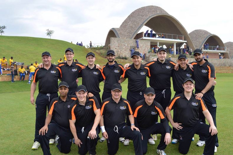 Coutts CC in front of the iconic pavilion at the Gahanga Cricket Stadium, Kigali