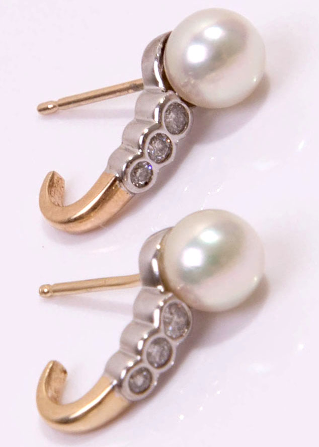 pearl diamond antique earrings