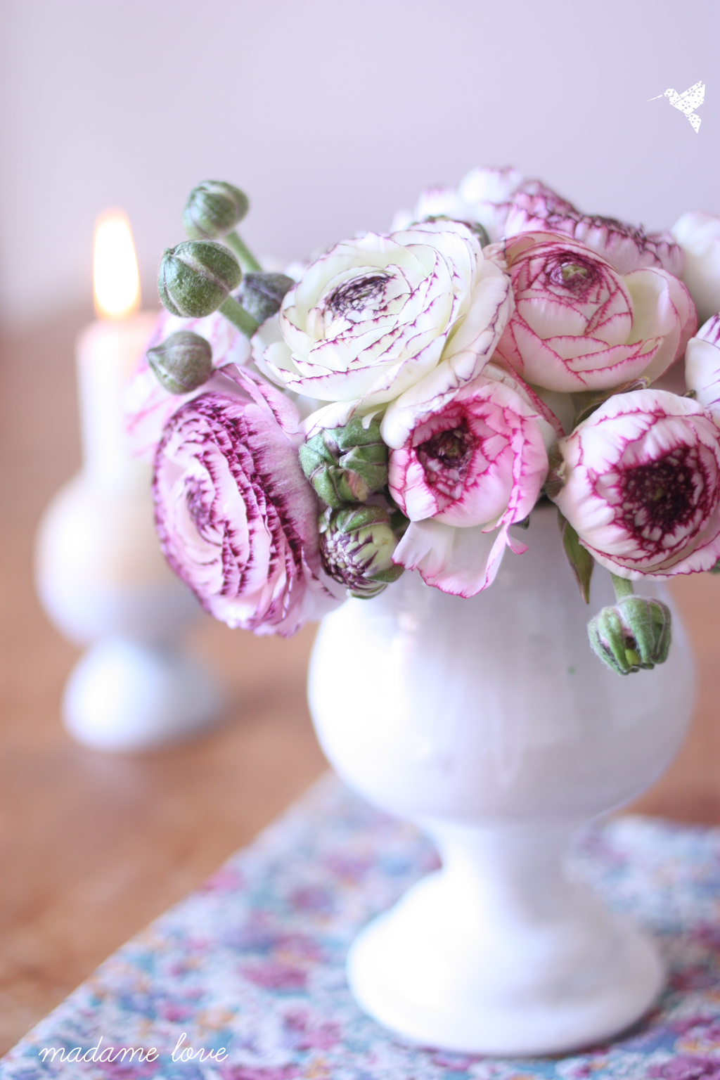 ranunculus with candle by madame love