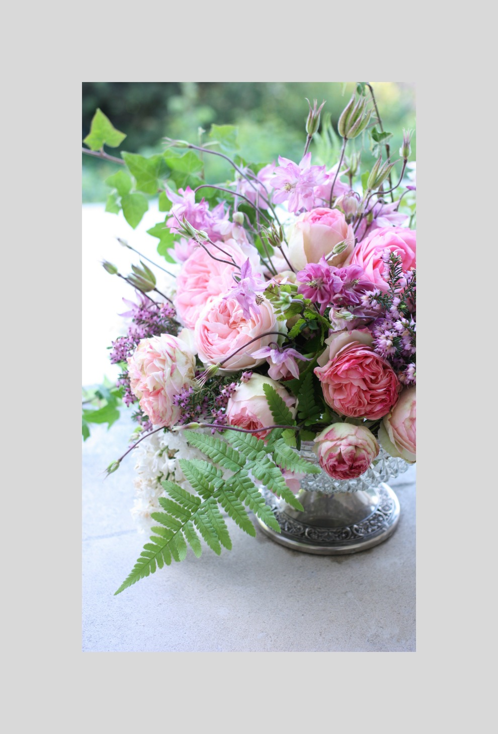 fern leaf in a pink bouquet