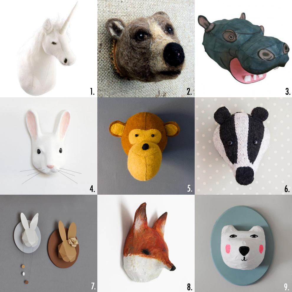 Trophy animal head for nursery